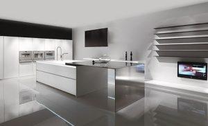 cocina minimalista personalizada blanca y acero-blog