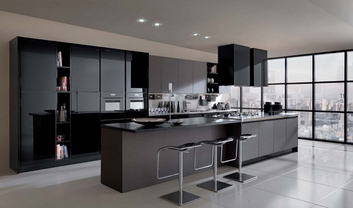cocinas minimalistas negra personalizadas