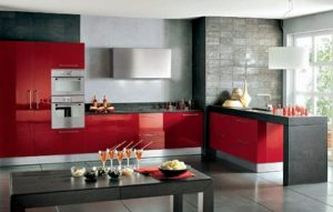 cocina minimalista personalizada roja- blog